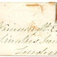 Sellos: CARTA DE UXBRIDGE A LONDRES, 1851, 1P ROJO PAPEL AZULADO. Lote 55144360