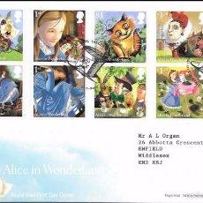 Selos: GRAN BRETAÑA 2015 ALICE WONDERLAND STORY FDC YV 4077-86 SG 3658-67. Lote 56145212