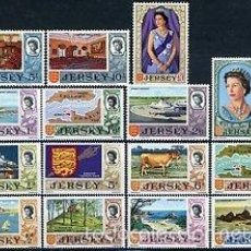Sellos: JERSEY 1969 IVERT 5/19 *** REINA ISABEL II Y MOTIVOS DIVERSOS. Lote 57473757