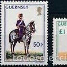 Sellos: GUERNESEY 1975 IVERT 113/5 *** CABALLERIA - UNIFORMES MILITARES. Lote 57544092