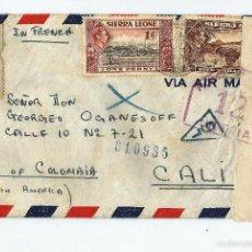 Sellos: SIERRA LEONA 1942 - CARTA VOLADA DE SIERRA LEONA A COLOMBIA. Lote 57648953
