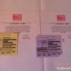 Sellos: HOJAS EXPO LONDON 80, DOS ENTRADAS Y 2 TARJETAS.. Lote 62950940