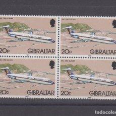 Sellos: GIBRALTAR 505 B4 SIN CHARNELA, AVION, REIMPRESION AÑO 1985. Lote 63643559