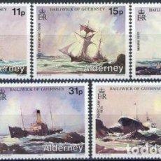 Sellos: ALDERNEY 1987 IVERT 32/36 *** NAUFRAGIOS ALREDEDORES DE LA ISLA - BARCOS PERDIDOS. Lote 64539263