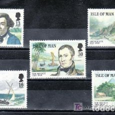 Sellos: ISLA DE MAN 1989 IVERT 397/401 *** BICENTENARIO DEL MOTÍN DE BOUNTY - PERSONAJES. Lote 65452554