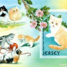 Sellos: JERSEY 2002 - CATS, MICHEL BLOCK 34, MNH. Lote 81556608