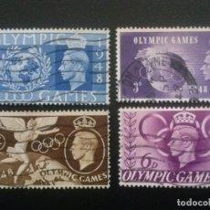 Sellos: GRAN BRETAÑA , YVERT Nº 241 A 244 , 1948 JUEGOS OLÍMPICOS , DEPORTES. Lote 84330880