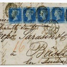 Sellos: 2P AZUL SIN DENTAR DE 1841, TIRA DE CINCO EN CARTA DE LONDRES A SUIZA, 1850.. Lote 85839144
