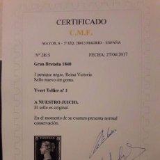 Sellos: SELLO UNICO.Nº 1 T- K DE GB - BLACK PENNY 1840 NUEVO CERTIFICADO REINA VICTORIA OFERTA -50%. Lote 86761704
