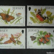 Sellos: JERSEY (GRAN BRETAÑA) YVERT 543/6 SERIE COMPLETA NUEVA SIN CHARNELA. FAUNA. INSECTOS. MARIPOSAS.. Lote 92312679