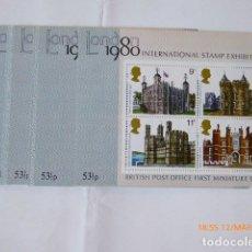 Sellos: 25 HOJITAS BLOQUE CASTILLOS LONDON 80, EXHIBITION, . Lote 92916870