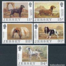 Sellos: JERSEY 1988 IVERT 424/8 *** CENTENARIO DEL CLUB CANINO DE JERSEY - FAUNA - PERROS. Lote 99662891