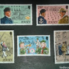 Sellos: JERSEY (GRAN BRETAÑA). YVERT 282/6. SERIE COMPLETA NUEVA SIN CHARNELA. SCOUTS. Lote 100188871