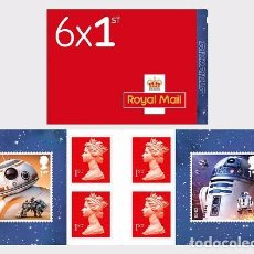 Sellos: GREAT BRITAIN 2017 - STAR WARS: THE LAST JEDI - RETAIL STAMP BOOK - DROIDS - STAMP BOOKLET. Lote 104242388