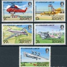 Sellos: ALDERNEY 1985 IVERT 18/22 *** 50º ANIVERSARIO DEL AEROPUERTO DE ALDERNEY - AVIONES. Lote 114929187