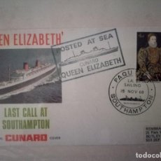 Sellos: 1968.OFFICIAL CUNARD COVER.QUEEN ELIZABETH.PAQUEBOT SOUTHAMPTON.. Lote 116785423