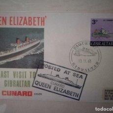 Sellos: 1968.OFFICIAL CUNARD COVER.QUEEN ELIZABETH.PAQUEBOT GIBRALTAR.. Lote 116785551