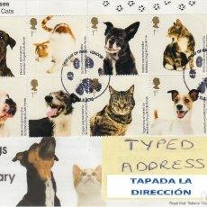 Sellos: GRAN BRETAÑA 2010 PERROS Y GATOS BATTERSEA DOGS AND CATS SET DE 10V FDC SG 3036-45 YV 3284-93. Lote 155713760
