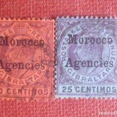 Sellos: MOROCCO AGENCIES. SG18 Y 20 1903. SELLOS DE GIBRALTAR SOBRECARGADOS EN MONEDA ESPAÑOLA. USADOS.. Lote 131241979
