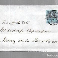 Sellos: INGLATERRA. CARTA DE LONDRES A JEREZ DE LA FRONTERA. 1892. VER SELLO. Lote 133803726