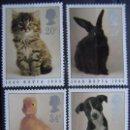 Sellos: INGLATERRA - IVERT 1439/42 - SIN GOMA - 150 ANIV SOCIEDAD PROTECTORA DE ANIMALES. Lote 133886766