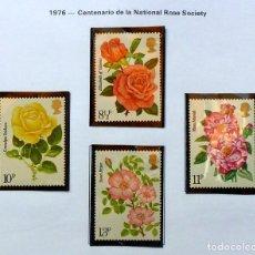 Sellos: GRAN BRETAÑA 1976 NATIONAL ROSE - COMPLETA, NUEVOS. Lote 138781790
