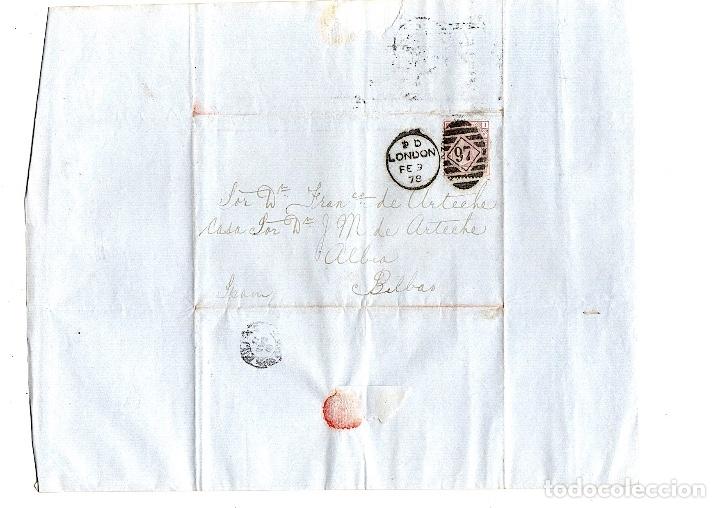 SOBRE CIRCULADO DE LONDRES A BILBAO. AÑO 1878 (Sellos - Extranjero - Europa - Gran Bretaña)