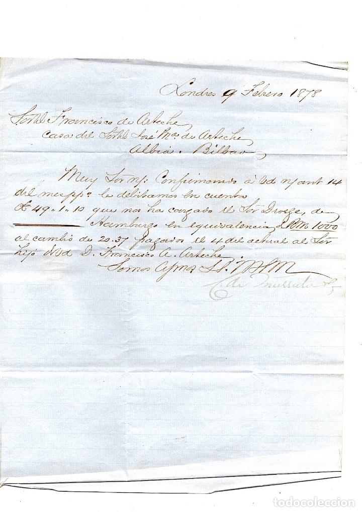 Sellos: SOBRE CIRCULADO DE LONDRES A BILBAO. AÑO 1878 - Foto 2 - 139274622