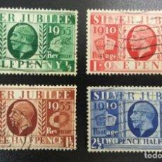 Sellos: GRAN BRETAÑA. KING GEORGE V. SILVER JUBILEE, 1935. SERIE, 4 VALORES (N.º 201-204 DEL CATÁLOGO YVERT). Lote 139516670