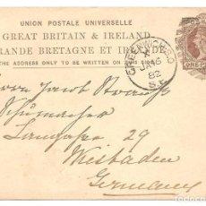 Sellos: ENTERO POSTAL GRAN BRETAÑA - ONE PENNY - CIRCULADO AÑO 1882. Lote 140032270