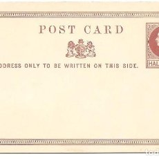 Sellos: ENTERO POSTAL GRAN BRETAÑA - POST CARD - HALF PENNY - SIN CIRCULAR. Lote 140313330