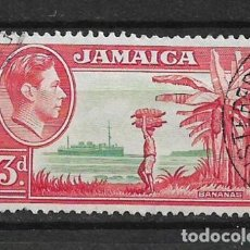 Sellos: JAMAICA 1952 - SC# 152 3P ROSE RED & GREEN - 1/27. Lote 143344090