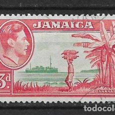Sellos: JAMAICA 1952 - SC# 152 3P ROSE RED & GREEN - 1/27. Lote 143344118