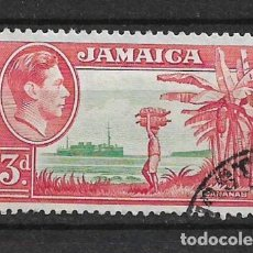 Sellos: JAMAICA 1952 - SC# 152 3P ROSE RED & GREEN - 1/27. Lote 143344166
