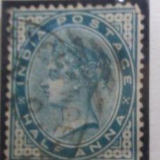 Sellos: SELLO INGLES, HALF ANNA, POSTAGE, QUEEN VICTORIA, 1892.. Lote 143825490