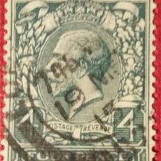 Sellos: GRAN BRETAÑA. 1912, JORGE V. 4 P. VERDE NEGRUZCO (Nº 145 YVERT),. Lote 144057178