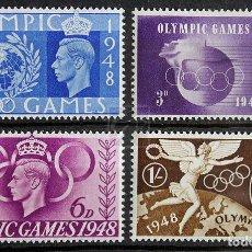 Sellos: GRAN BRETAÑA 1948 ~ SERIE NUEVA MNH LUJO ~ DEPORTE: JUEGOS OLÍMPICOS DE VERANO EN LONDRES. Lote 144465890