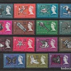 Sellos: ISLAS SALOMÓN 1966 SC # 149A - 166A MH & - 10/14. Lote 147094450
