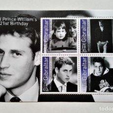 Sellos: GIBRALTAR 2003 PRINCE WILLIAM'S 21ST BIRTHDAY HOJITA. Lote 149355852