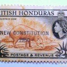 Sellos: SELLO POSTAL BRITISH HONDURAS 1960 , 2 C ,TAPIR AMERICA CENTRAL, OVERPRINT, CONMEMORATIVO, SIN USAR. Lote 150800026