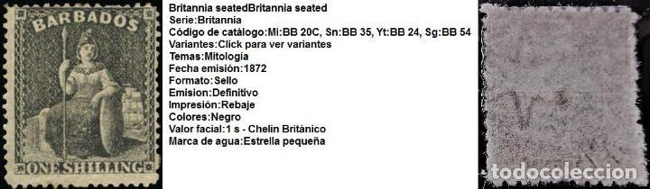 Sellos: SELLO GRAN BRETAÑA BARBADOS SELLO SG 61 YVEST 13* 170€ - Foto 4 - 152824206