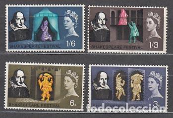 GRAN BRETAÑA - CORREO 1967 YVERT 382A/5A ** MNH SHAKESPEARE (Sellos - Extranjero - Europa - Gran Bretaña)