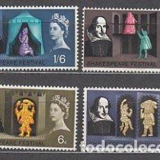 Sellos: GRAN BRETAÑA - CORREO 1967 YVERT 382A/5A ** MNH SHAKESPEARE. Lote 153990124