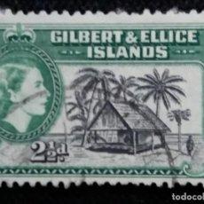 Sellos: SELLOS, COLONIAS INGLESAS, GILBERT & ALLICE ISLAND, 2,1/2D, REINA ELIZABETH II, AÑO 1954... Lote 154524470
