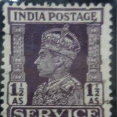 Sellos: SELLOS, COLONIAS INGLESAS, INDIA SERVICE, REY GEORGE VI, 1,1/2AS, AÑO 1940. . Lote 155982506