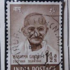 Sellos: SELLOS, COLONIAS INGLESAS, INDIA, MAHATMA GANDHI, 1,2AS, AÑO 1948.. Lote 155989574