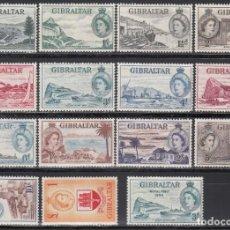 Sellos: GIBRALTAR, 1953 YVERT Nº 130 / 143, 144, /*/. Lote 156911746