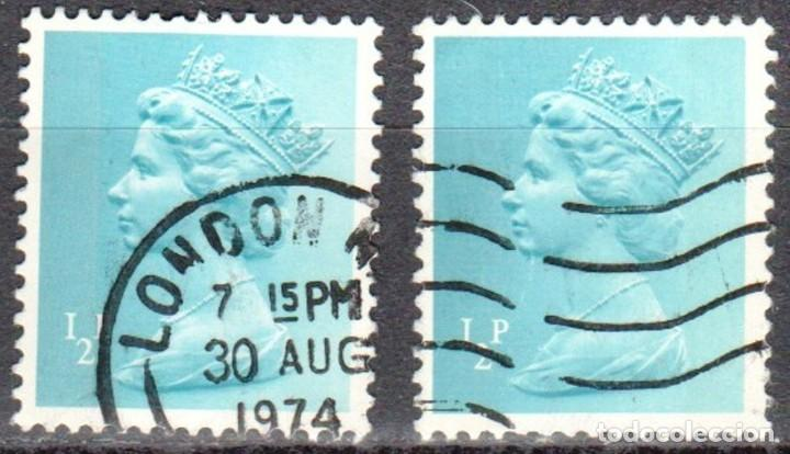 GRAN BRETAÑA - DOS SELLOS - IVERT #605 - ***REINA ELIZABETH II - DECIMAL*** - AÑO 1971 - USADOS (Sellos - Extranjero - Europa - Gran Bretaña)