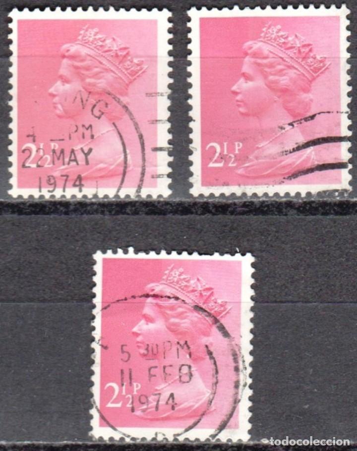 GRAN BRETAÑA - TRES SELLOS - IVERT #609 - ***REINA ELIZABETH II - DECIMAL*** - AÑO 1975 - USADOS (Sellos - Extranjero - Europa - Gran Bretaña)