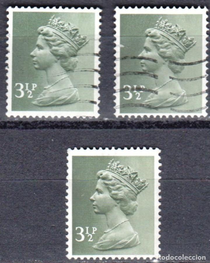 REINO UNIDO - TRES SELLOS - IVERT #611 - ***REINA ELIZABETH II - DECIMAL*** - AÑO 1971 - USADOS (Sellos - Extranjero - Europa - Gran Bretaña)